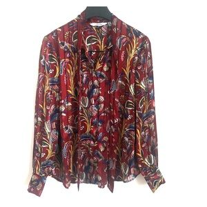& Other Stories paisley button down with ascot tie